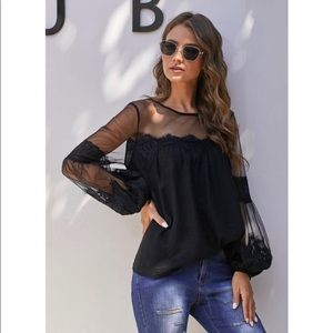 Sheer Blouse with lantern style sleeves